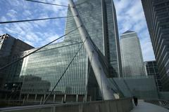 Modern office buildings and skyscrapers in the financial disctrict canary wha Stock Photos