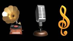 gramophone, microphone, treble clef, loop, alpha - stock footage