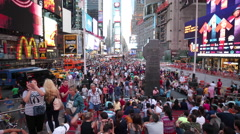 Crowded Red Stairs Times Square People NYC New York City USA Tourism Tourists 4K Stock Footage