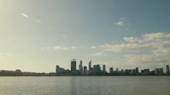 Afternoon View of Perth City from Across the Swan River Stock Footage