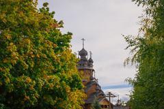 old wooden orthodox church in svyatogorsk, donetsk area, ukraine - stock photo