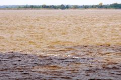 Meeting of the waters at the confluence of the amazonas river brown water and Stock Photos