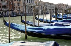 Blue covered gondolas at canale grande in venice italy Stock Photos