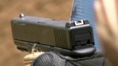 Glock pistol close up Stock Footage