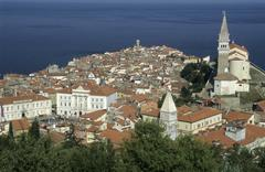 Historic center of piran, primorska region, slovenia Stock Photos