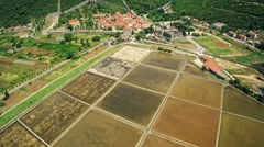Ston saltern, aerial Stock Footage
