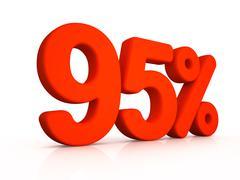 ninety five percent simbol on white background - stock illustration