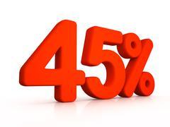 forty five percent simbol on white background - stock illustration