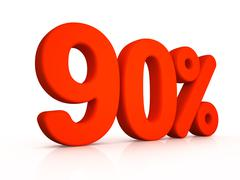 ninety percent simbol on white background - stock illustration