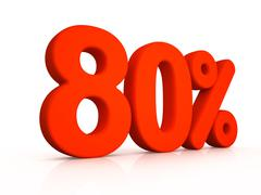 eighty percent simbol on white background - stock illustration