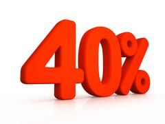 forty percent simbol on white background - stock illustration