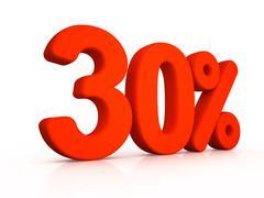 thirty percent simbol on white background - stock illustration