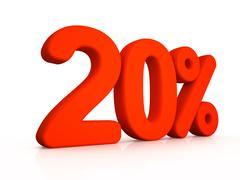twenty percent simbol on white background - stock illustration