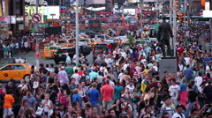 Crowded Times Square People NYC New York City USA Tourism Crowd Tourists 4K - stock footage