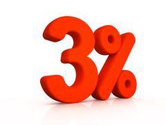 three percent simbol on white background - stock illustration