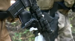 Security contractors and tactical carabine Stock Footage