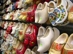 dutch-typical wooden clog on a market stand in amsterdam, netherlands, europe - stock photo