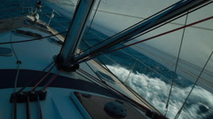 The nose of the boat cuts through the waves Stock Footage