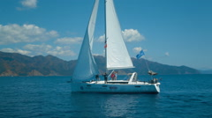 Team to pull the sail yacht Stock Footage