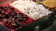 Liuhe Night Market - macro of seafood Stock Footage