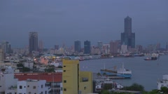 Evening Kaohsiung harbor aerial Stock Footage