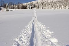 Ascent track for a ski hiking tour on the unterberg lower austria Stock Photos
