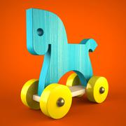 blue wood horse toy on red background (symbol of the new year 2014) - stock illustration