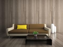 modern interior with yellow pillow - stock illustration