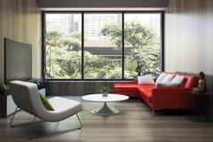modern interior with red sofa - stock illustration