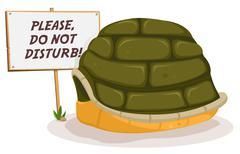 do not disturb turtle sleeping - stock illustration