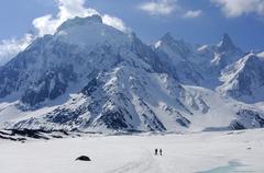 On the glacier mer de glace dome de rochefort 4015 m arret de rochefort dent  Stock Photos