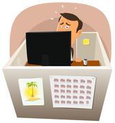 depressive worker at work - stock illustration