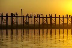 U bein bridge in orange evening light amarapura mandalay burma Stock Photos