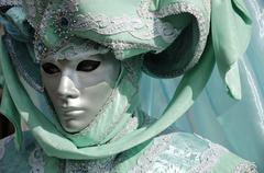 Portrait of turquoise green mask at carneval in venice, italy Stock Photos