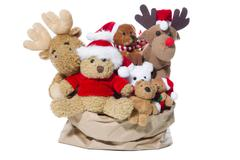 group of christmas teddy bears or santa claus for teamwork, team or friends c - stock photo