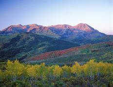 autumn rocky mountains usa utah wasatch range mount timpanogo alpine loop aut - stock photo