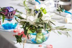 Original designer bouquet on a banquet table Stock Photos