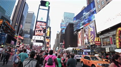 Crowded Times Square People NYC New York City USA Tourism Crowd Tourists 4K Stock Footage