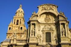Main fassade baroquial cathedral murcia spain Stock Photos