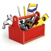 Toolbox with tools on white isolated background. Stock Illustration