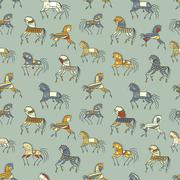 ethnics horse galloping. colored seamless texture. used as fill pattern, back - stock illustration