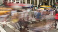 Crowd of people walking crossing intersection street time-lapse Stock Footage