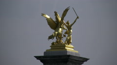Paris Victory statue on Pont Alexandre III 4k Stock Footage