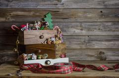 wooden christmas background in vintage and nostalgia style. - stock photo
