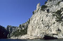 Rocky coast at calanque d´en-vau, provence, france Stock Photos