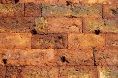 Precise built old wall of bricks of the pre-angkor-period prasat preah ko stu Stock Photos