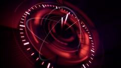 Abstract background with rotating red clock, loop Stock Footage