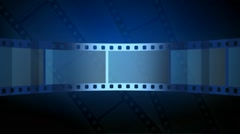 Abstract blue motion background with moving film strip in loop Stock Footage