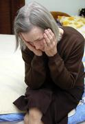 older woman with depression - stock photo