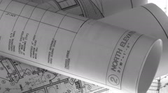 Blueprints Rotating Construction Real Estate Stock Footage